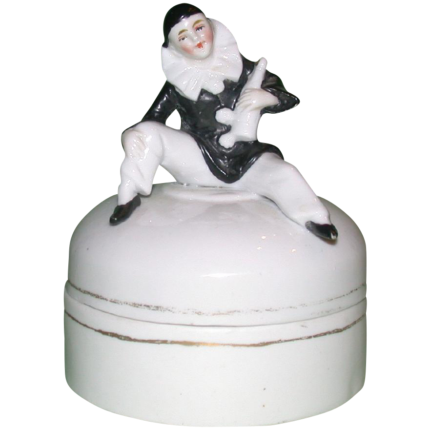 Art Nouveau Dresser Box, With Pierrot Seated on the Lid Holding a Bottle