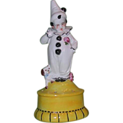 REDUCED Art Deco Figural Hatpin/Posy Holder, Child in Pierrot Costume With Dog, Germany, c ...