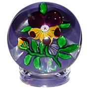 REDUCED Antique Baccarat Paperweight - Pansy - Clear Star Cut Base. Circa 1850