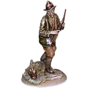 "REDUCED Borsato -  Multi-Figural Porcelain  ""Hunter With Hare"""