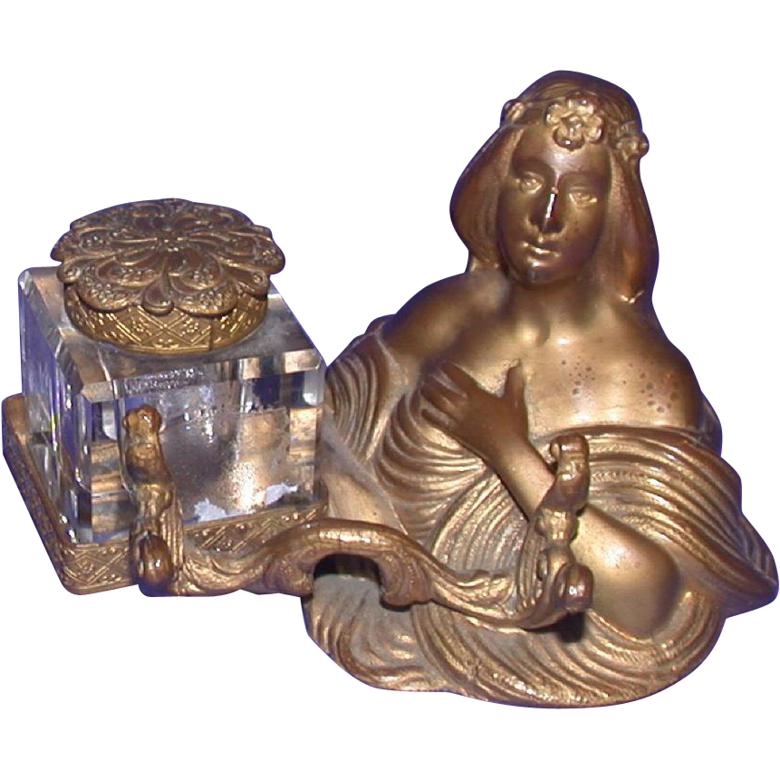 Art Nouveau Metal Inkwell With Cut Glass Bottle, c 1900