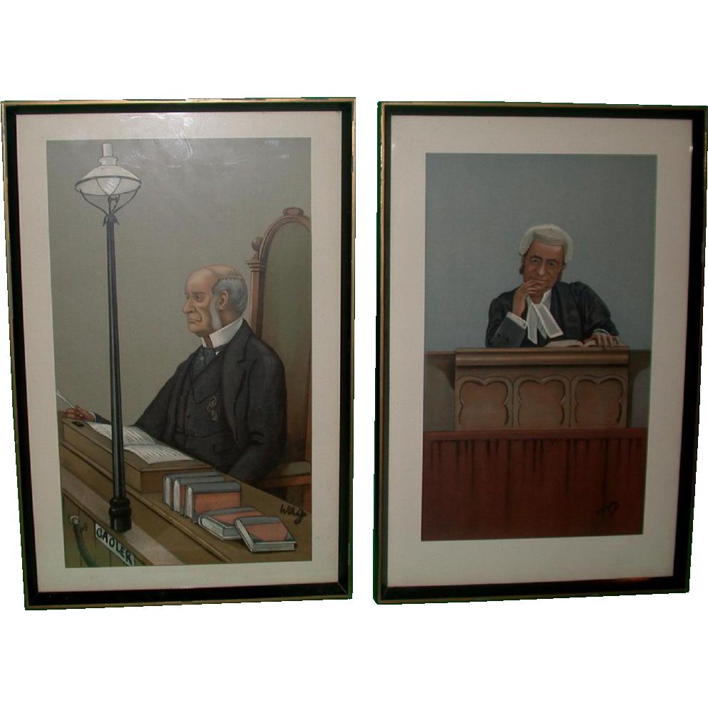 "SIX Antique Vanity Fair Legal Prints By ""Spy"" (Leslie Ward) c 1890s"