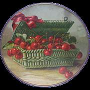 SALE Antique Victorian Flue Cover - Basket Of Cherries