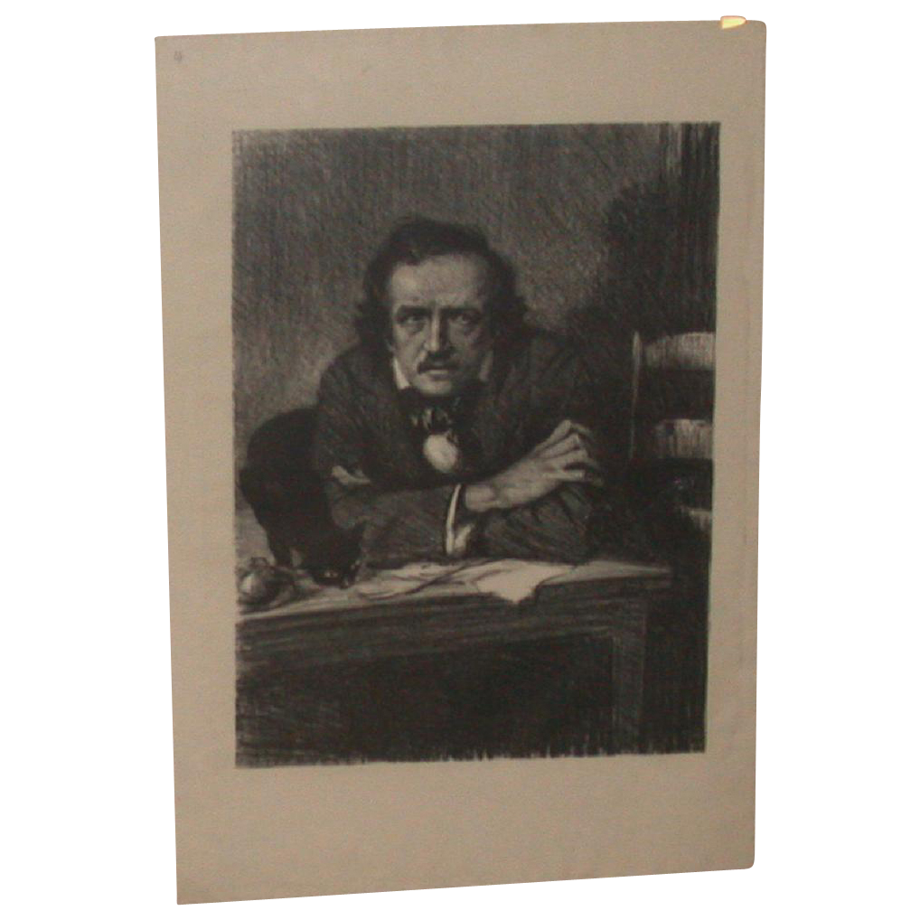 Samuel J. Woolf - Portrait Lithograph of Edgar Allen Poe - c 1930