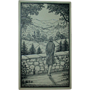 """REDUCED Original Ink Drawing """"A Beautiful View"""" by Erich Simon, Signed, c 1910"""