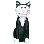 REDUCED Darling Folk Art Primitive Hand-Carved Hand-Painted Wood Cat