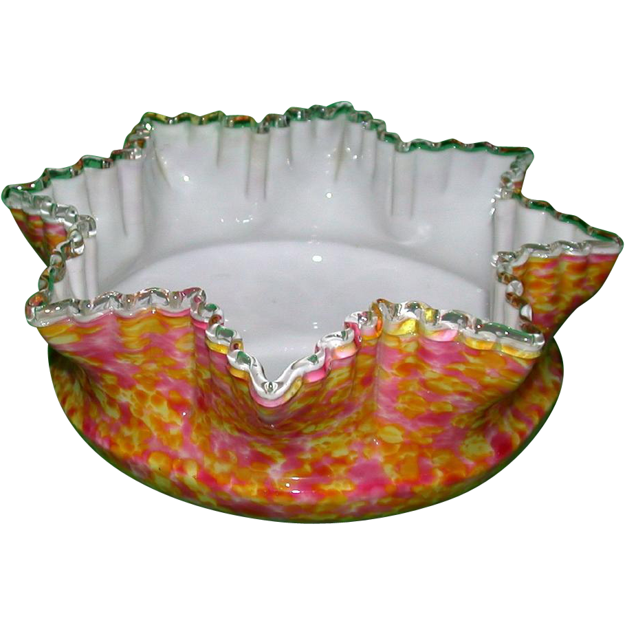 English Victorian End Of Day Cased Spatter Glass Bowl - Stunning!