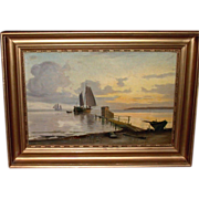 Antique Oil Painting On Wooden Board, Sailing Boats Near Shore, c1900
