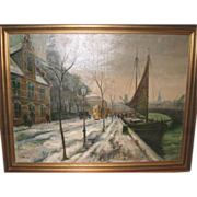 Oil On Canvas - Street Scene by Listed Danish Artist Ove Svenson