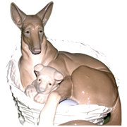 "Lladro - Extremely Rare ""German Shepherd With Pup"" - Closed Edition, c 1970"