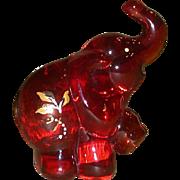 Fenton - Ruby Elephant - Handpainted, Signed, J. K. Spindler