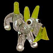 SOLD British PIRELLI Glass Dog Figurine, Scottie or Schnauzer, c 1950