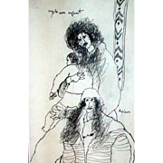 "REDUCED Outstanding Original Drawing by Theo Tobiasse, ""Couple Avec Enfant"" - Signed"