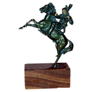 REDUCED Kauba - Magnificent Signed Bronze Indian On Horseback - c 1920