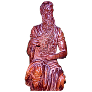"""REDUCED Well-Carved Wood Sculpture - """"Moses"""" - From Israel, c 1970"""