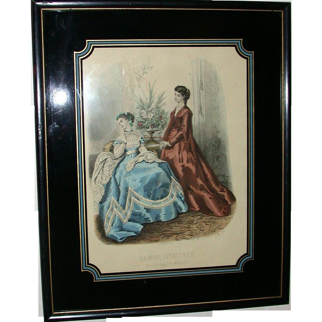 """Antique Hand Colored Engraving """"La Mode Illustree"""" - Heloise Leloir - Paris, 1867"""