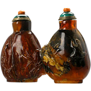 SOLD Fabulous Antique Amber Twin Snuff Bottle with Birds & Plants.  19th Century