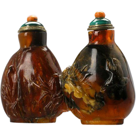 Fabulous Antique Amber Twin Snuff Bottle with Birds & Plants.  19th Century