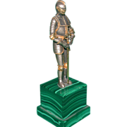 REDUCED A Knight's Coat Of Armor (Metal) On Marble Base