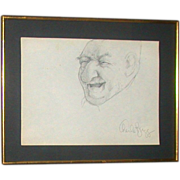 """SOLD Charles Bragg - Original Self-Portrait Drawing """"Man No. 1"""" - Signed - Red Tag S"""