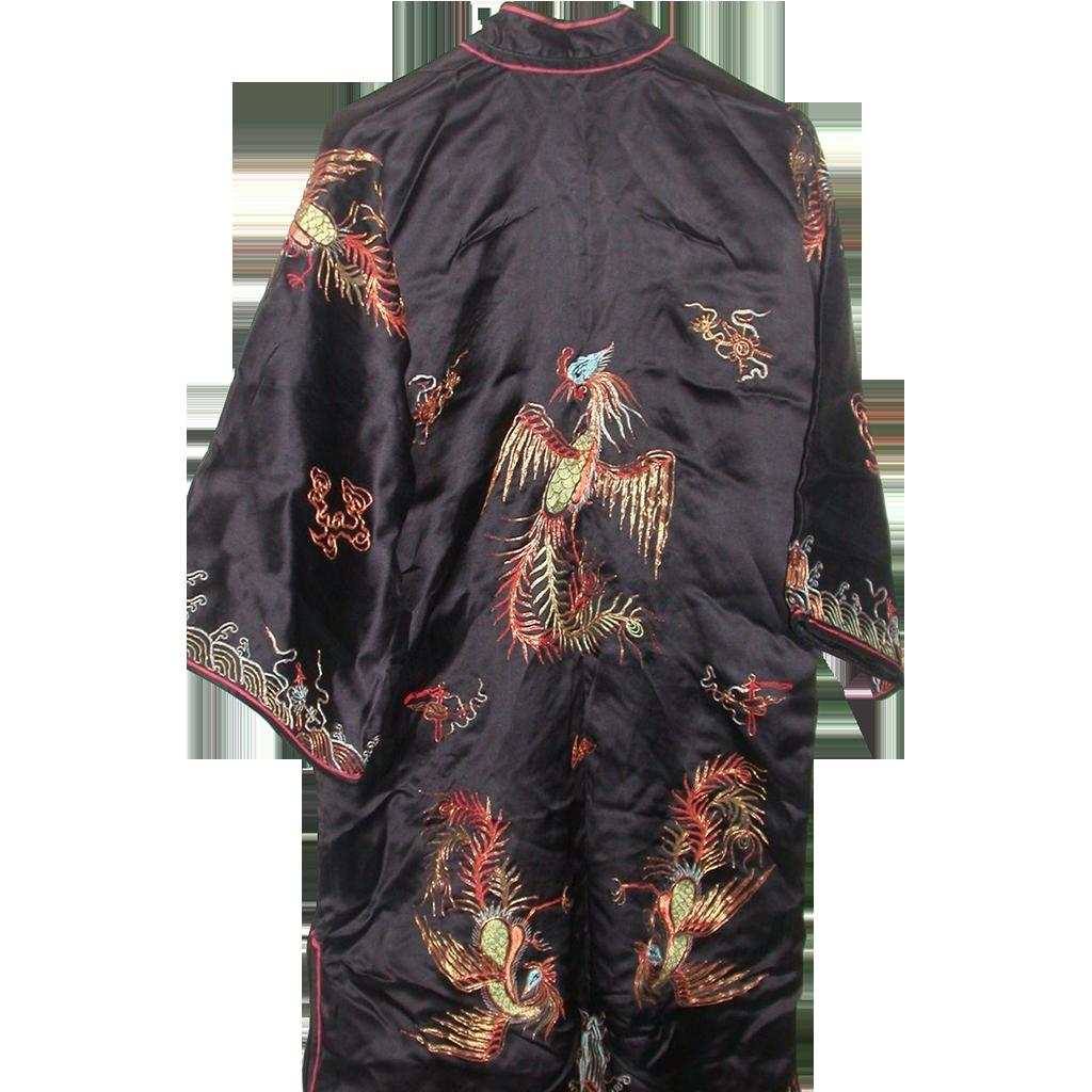 Magnificent Ceremonial Silk Robe, C. 1940, Elaborate  Adornment