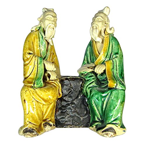 RARE Chinese Multi-Figural  Mudmen - Two Sages Playing Wei-chi, c 1930