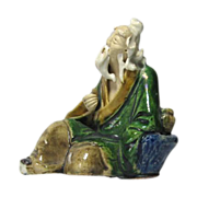 Unusual Antique Chinese Mudman Reclining Fisherman, Circa 1900