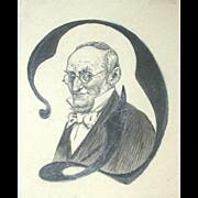 """Poul Steffensen (1866-1923) - Antique  Decorative Initial """"D"""" Portrait Of A Man,  c 1908"""