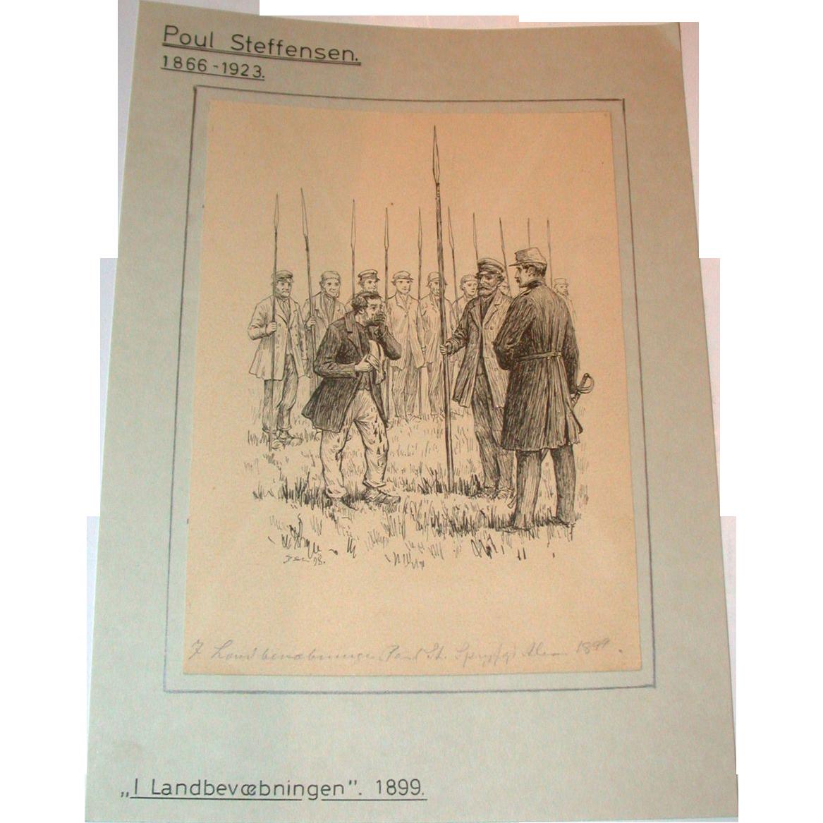 Poul Steffensen (1866-1923) - Original Antique Pencil, Pen and Watercolor Drawing on Paper, Circa 1899