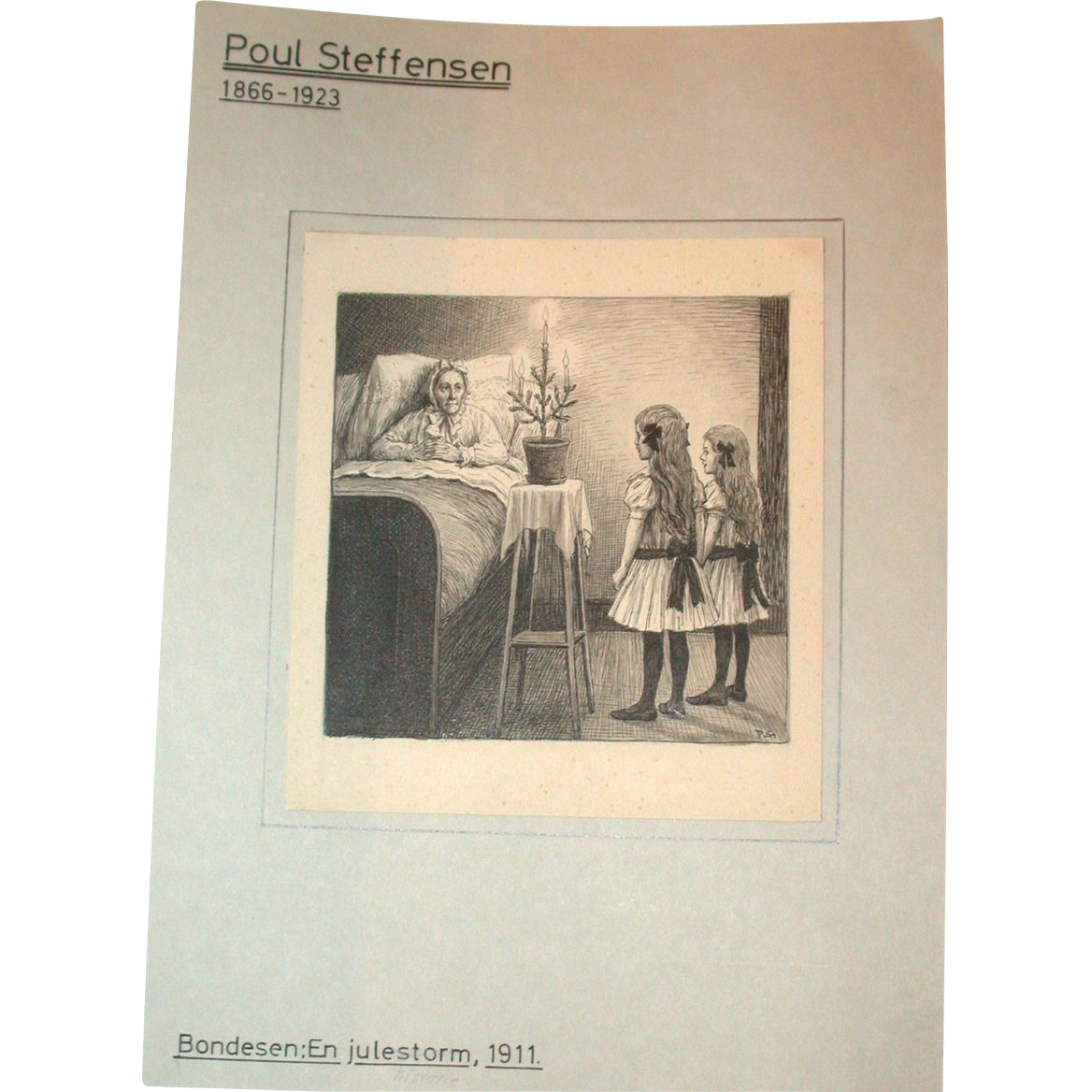 Poul Steffensen (1866-1923) - Original Antique Pencil, Pen and Watercolor Drawing on Paper, Circa 1911
