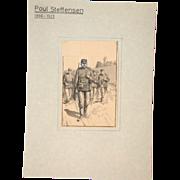 Poul Steffensen (1866-1923) - Original  Pencil, Pen and Watercolor Drawing on Paper, Circa 1900 - 1910