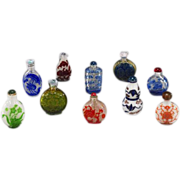 SOLD 10 Chinese Carved Overlay Glass Snuff Bottles, all mid 1900s