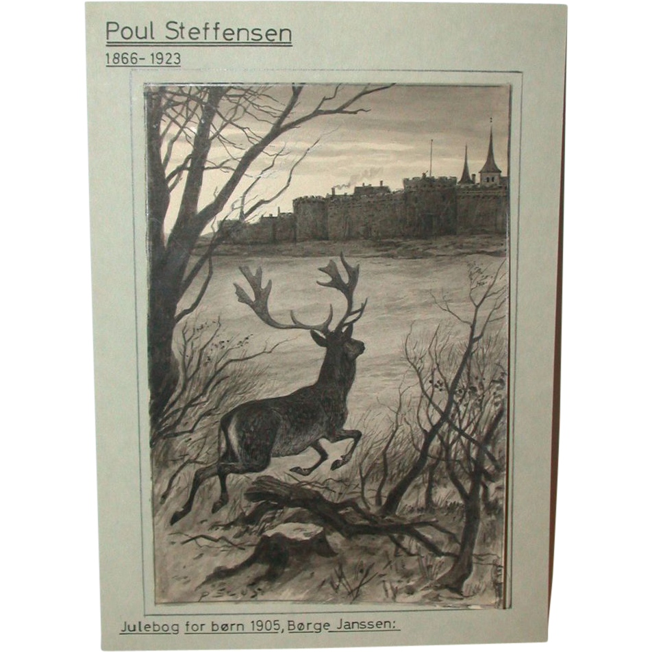 Antique Original Drawing by Poul Steffensen (1866-1923), Signed and Dated 1905,