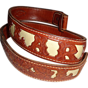 "LARRY HAGMAN'S ESTATE - Tooled Leather Belt Reading ""Larry"" and ""LH"""