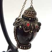 "Tibetan Snuff Bottle With Faux ""Jeweled"" Silvered Mounts, Vintage (Or Earlier), Hanging Stand"