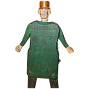 Folk Art Vintage Carved Wood Jointed Man With Metal Hat!