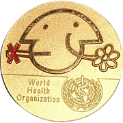 LARRY HAGMAN'S ESTATE - World Health Organization Medallion Plus Two Other Pins
