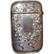 Bristol Silver-Plated Antique Match Safe (Vesta) With Floral Wreath And Ribbon Decoration, Cir