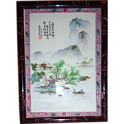 Chinese Porcelain Plaque - Wonderful Scene - With Signed Chinese Inscription - Tranquil and Exquisite