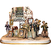 "Borsato ""Street Scene"" - Huge Multi-Figural Incredibly Detailed Porcelain Sculpture - Museum Quality"