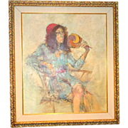 "Original Signed Watercolor ""Woman Relaxing"" by Well-Listed Artist Richard Jerzy , (1"