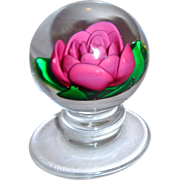 Charles Kaziun, Jr. (1919-1992) - Very Special And Rare Crimp Rose  Paperweight