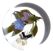 """SOLD Victor Trabucco - """"Bee With Wildflower And Berries""""  - Large Paperweight - Wond"""