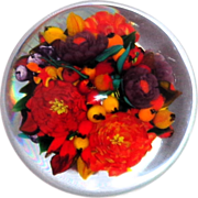 """SOLD RICK AYOTTE - """"Abundance"""" Magnum Double Bouquet Paperweight - Signed Very Limit"""