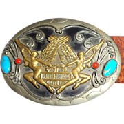 SALE PENDING LARRY HAGMAN - Harley-Davidson Leather Belt With Metal and Turquoise Conchos