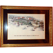 RICHARD NIXON Signed - Image Of The Richard Nixon Library And Birthplace Circa1990
