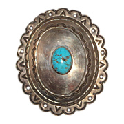 LARRY HAGMAN - Turquoise And Metal Belt Buckle