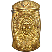 Rare Antique Gorham Brass Indian Head Match Safe Prototype - Listed