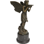 Art Nouveau Cast Bronze Fairy Sculpture With Shell
