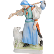 Zsolnay Porcelain - Hungary - Peasant Girl With Her Dog